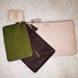 TED BAKER Pouch Trio: Pale Pink, Purple, Green